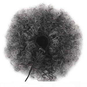 4C Clip en Cabello Gris Ponytail Afro Kinky Gray Afro Puff Bun Updo Drawstring Ponytail Hair Extension 100g 120g