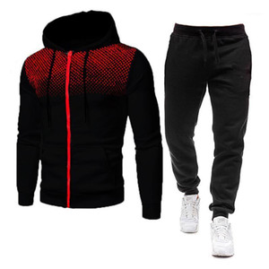 Two Piece Set Men Tracksuit Polyester Sweatshirt and Pants Outfit Sportswear Suit Hooded Hoodies Male Sweatshirts Size M-3Xl1