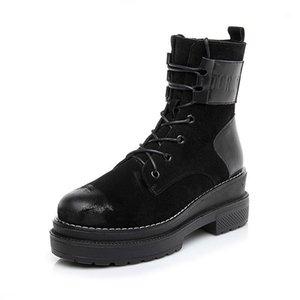 Norberg Kış Çizmeler Hakiki Deri Ayak Bileği Çizmeler Peluş Sıcak Kadın Platformu Sneakers 2020 Moda Savaş Kadın Ayakkabı1