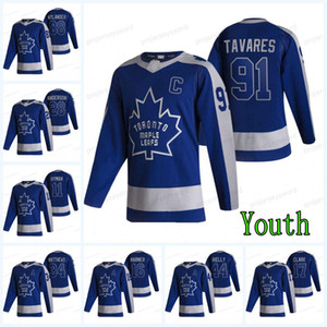 Youth Toronto Maple Leaf 2021 Reverse Retro Jersey Doug Gilmour Ilya Mikheyev Morgan Rielly Auston Matthews John Tavares Mitchell Marner