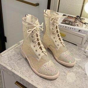 Manlegu 2020 zapatos para mujer botas de otoño tacones Rhinestone Malla zapatos Sexy tacones altos Hollow Out Roma Estilo de cordón Up