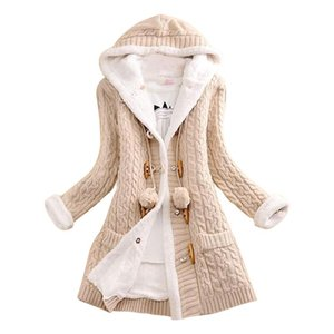 Lady Winter Hooded Fleece Liner Cashmere Cardigan Knitted Sweater Coat Women Thick Warm Long Sleeve Knit Weave Long Jacket Tops