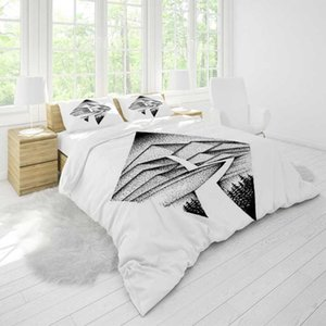 Bedding Black Pattern Duvet Cover Sets Full Size Comforter Pillowcase Home Textile Luxury Custom Designer Quality Modern Printed