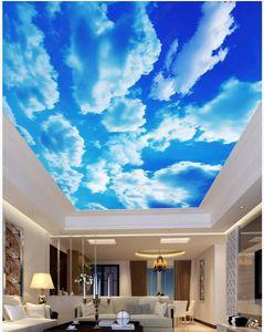 3D teto murals papel de parede foto feita sob encomenda foto azul e nuvens brancas nuvens 3d murais parede papéis de parede Déce da casa na sala de estar
