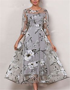 Fashion-Floral Print Womens Casual Dresses Fashion Plus Size Transparent Panelled Womens Designer Dresses Casual Females Clothing