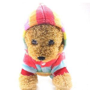 Pet Dog gato flanela pijama arco-íris roupas engrossar jumpsuit hoodie casaco quatro pés com chapéu quente para animais de estimação inverno roupas