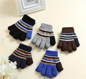 12Pairs / lot Winter Kids Gloves Colors a strisce full dato guanti ragazzi ragazze maglia guanti 3-6T bambini all'aperto sport guanto LY112501