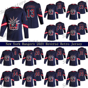 New York Rangers 2021 Retro Retro Jersey 10 Artemi Panarin 24 Kaapo Kakko 23 Adam Fox 13 Alexis Lafreniere Hokey Formaları