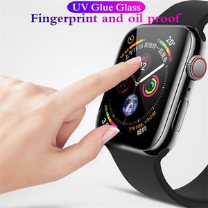 Protetor de vidro temperado da colagem completa do UV 3D para o protetor de tela de 40mm 44mm de 42mm 40mm para o relógio 5 4 3 2 1 série