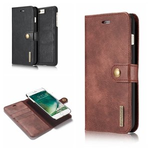 For iphone 12 11 XR XS MAX 8 7 6 Galaxy S10 S10E Note 20 10 2in1 Leather Wallet Magnetic Removable Detachable Case Flip Cover Metal button