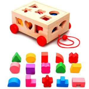 New Kids Wooden Toys Car Building Blocks Geometry Shape Matching Game Cognitive Sorter Matching Wood Box Early Eductional Toys