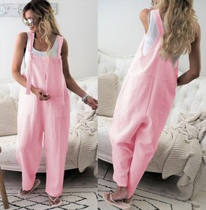 Harajuku Womens Casual Loose Solid Jumpsuit Romper Long Trousers Playsuit Strap Pocket Harem Trousers Overalls Drop Shipping