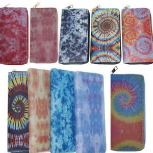 Gradient Tie Dye Designer Wallet PU Leather Long Wallets with Credit Card Holder Bags Zipper Purses Unisex Handbag Coin Bag Notecase E112406