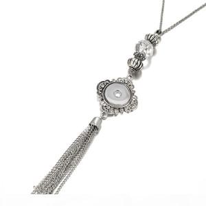 Women S Vintage Tassel 18mm Snap Button Necklace Pendant Boho Bohemian Pendants Without Chain Diy Jewelry For Men Mix Styles
