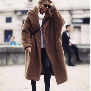 Womens New Fashion Winter Oversized Long Camel Coats High Quality Faux Fur Fuzzy Jacket Brown Shaggy Coat