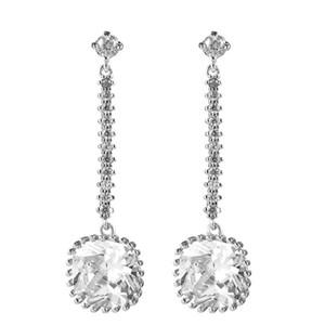 white square zircon dangle earring long drop studs ear jewelry bridesmaid gift tassel bridal dangly vintage earrings for women