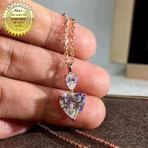 Solid Au750 18K gold Necklace moissanite 1.2ct Diamond DVVS color With national certificate 009