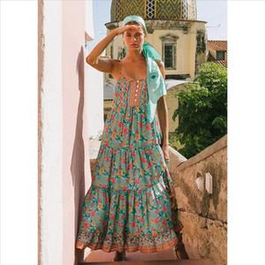 Sleeveless Summer Dress Women Clothes 2021 Elegant Long Dresses Floral Print Boho Maxi Dress Beach Strap Sexy Dresses