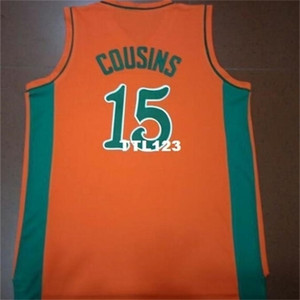 888 fotos reais Todas as bordadas com Costura Demarcus Cousins Leflore College Jersey Tamanho S-4XL ou Personalizado Qualquer nome ou Número Jersey