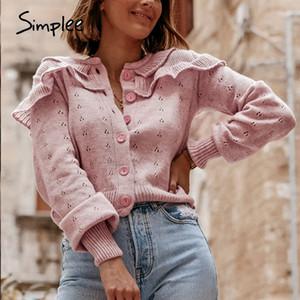 Simplee vintage woolen loose short cardigan Women long sleeve shoulder ruffled cardigan Basic roseate autumn sweaters 201124