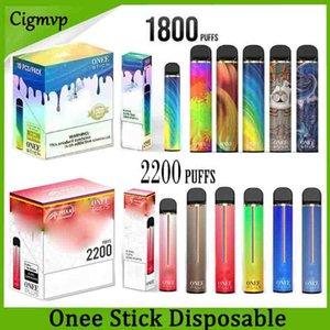 Onee Stick Alphaa Onee Plus 일회용 포드 장치 1800/2200 퍼프 Vape 1100mAh 배터리 6.5ml 휴대용 시스템 VS 에어 바 럭스