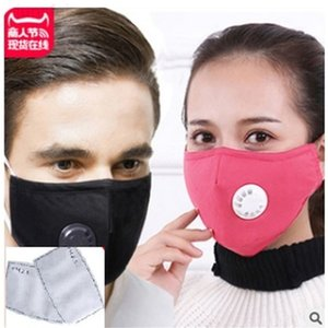 Free Shipping FedEx Washable Reusable Face Mask PM 2.5 Pads ventilator valves 100% cotton cloth good quality with two