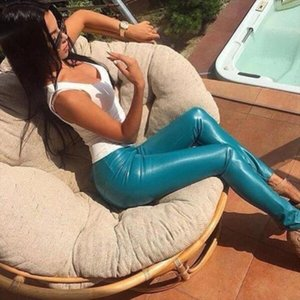 Leather Pants 2020 Real Skinny Faux Leather Fashion Pantalones Mujer Pants Spring New Womens Feet Plus Pu Leggings Solid Color