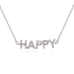 European and American zircon letter necklace HAPPY clavicle chain Ladies copper micro-inlaid necklace Source factory accessories B1204