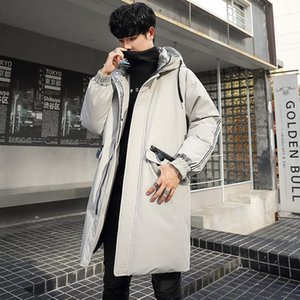 edition cultivate morality in the new 2020 down jacket white duck down coat pure color long men hooded contracted joker