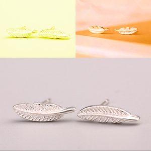 ريشة الأذن ترصيع شجرة يترك سبائك أقراط مطلي الفضة الذهب الأزياء القرط مصغرة إيكو مجوهرات صديقة 1 جمed L2
