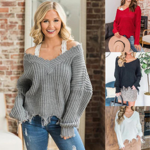 Womens Sweater Polyester deep V thick woven blouse irregular fringed loose wild pullover women winter sexy sweater