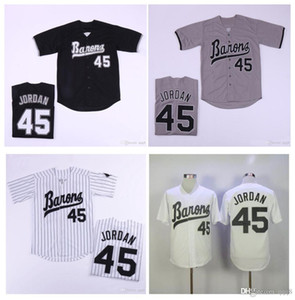Mens Birmingham Barons Jersey Michael Jor Dan Rookie 45 Weiß grau Schwarz 100% genäht Baseball Jersey Top Qualität!