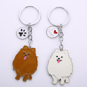 Jewelry Lovely Pomeranian dog charm key chains for women men metal Pet Dogs Keychains bag car key ring holder gifts1