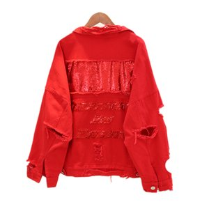 2019 Women's Harajuku Embroidery Letter Patch Bomber Jacket Women Red Black Ripped Denim Coat Female Plus Size J320