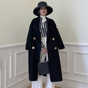 High-end 2020 Autumn Winter Korean New Wool Double-sided Long Trench Coats Female Cashmere Windbreaker Women Overcoats V944