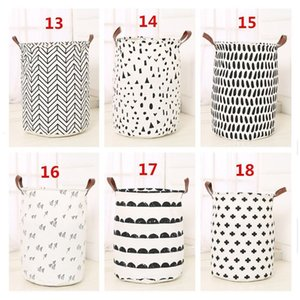 Toys Storage bucket Northern Europe Home Furnishing laundry Simplicity basket Leather handle letters Plaid canvas buckets Recyclable 14ly F2
