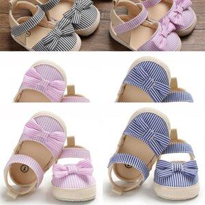 Top 2020 Children Summer Shoes Topborn Infant Baby Girl Soft Crib Shoes Infants Anti-slip Sneaker Striped Bow Prewalker 0-18M
