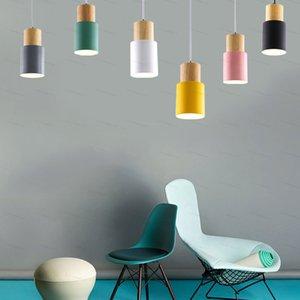 Современная простота светодиода E27 Macaron подвесной света Nordic подвесные огни Домашнее улучшение Макарон Украшение Подвесная лампа