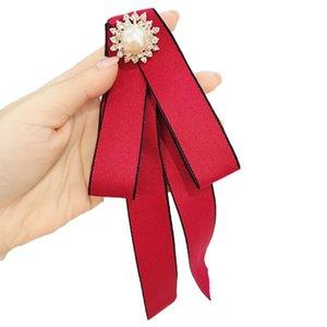 High-endWomen Long Ribbon Bow Tie Faux Pearl Rhinestone Flower Brooch Pin Shirt Necklace AXYD