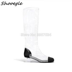 Shoogle прозрачный ПВХ пэчворк женские ботинки зрелые пальцы ножные кристалл пятки длинные сапоги мода леди уличные взлетно-посадочные туфли