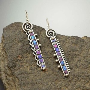 Alloy Long Eardrop Pettine Zigzag Rainbow Blu Blu Purple Dangle Stud Orecchini Donne Girl Moda Gioielli Accessori Vendita calda 3 8ry m2
