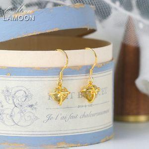 Lamoon 925 Pendientes de plata de plata para las mujeres Romántico corazón Natural Citrine Jewelry 14k Amarillo Chapado en oro Joyería Fina LMEI013 B1204