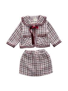2020 Automne Nouveau design de luxe Arrivée Girls Fashion Tweed 2 pièces Fashion Costume Manteau + Jupe Enfants Princesse Ensembles avec Bow Livraison Gratuite