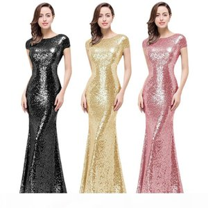 Black Champagne Gold Bridesmaid Dresses Sequins Prom Dress Full Sequined Evening Long Dress for Wedding Party Cowl Back Ball Gowns