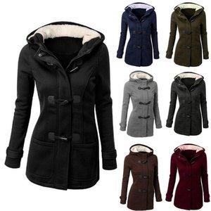 Chifre encapuçado no longo windbreaker casual fivela casaco de inverno outono