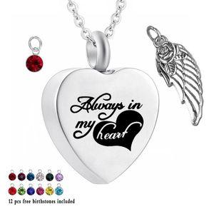 Siempre en mi corazón 12 piezas de piedra de nacimiento Crystal Urn Necklace Heart Memorial Weewsake Wing Colgante Cremation Joyería para cenizas