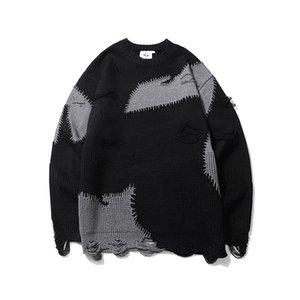 Mens Sweater O Pescoço Oversize de lã de lã bloco de bloqueio buraco desgastado suéteres pulôver solucionador lar lúpulo casal roupas