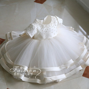 Pearls Design Baby Girls Pageant Dresses Tiered Skirts Ball Gowns Flower Girl Dress Jewel Neck Chic Girls Kids Formal Birthday Gowns