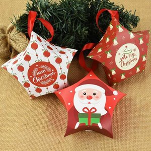 5pcs Merry Christmas Candy Box Bag Star Shape Santa Claus Snowman Paper Box For Christmas Tree Hanging Decor Xmas Gift Ornaments