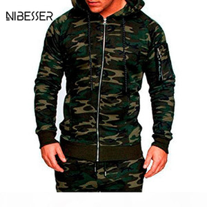 NIBESSER Male Camouflage Jacket Suit 2Pc Muscle Men Workout Track Suit Mens Tracksuit Top Pants Set Hoodie Trouser